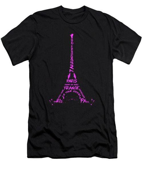 Digital-art Eiffel Tower Pink Men's T-Shirt (Slim Fit) by Melanie Viola
