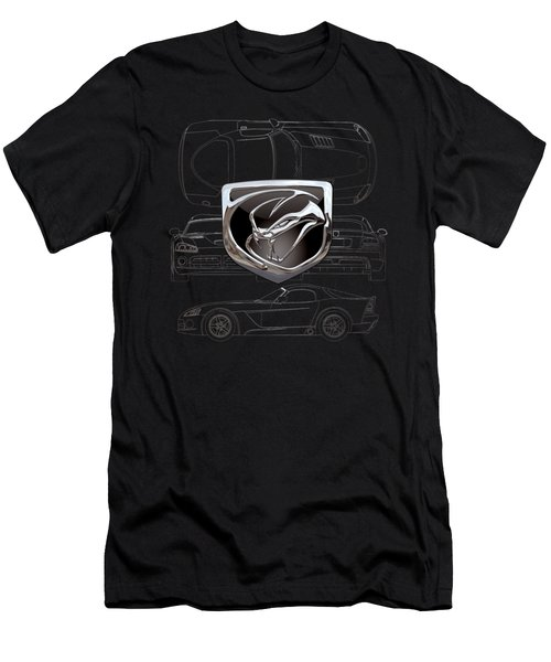 Dodge Viper  3 D  Badge Over Dodge Viper S R T 10 Silver Blueprint On Black Special Edition Men's T-Shirt (Slim Fit) by Serge Averbukh