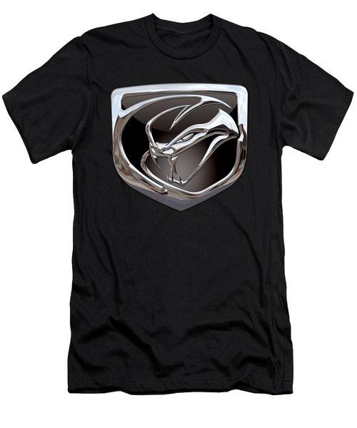 Dodge Viper - 3d Badge On Black Men's T-Shirt (Slim Fit) by Serge Averbukh