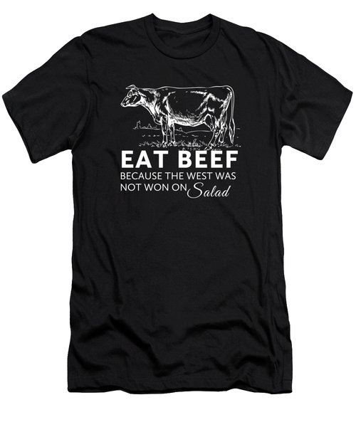 Eat Beef Men's T-Shirt (Slim Fit) by Nancy Ingersoll
