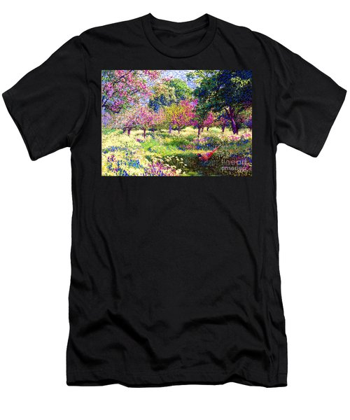 Echoes From Heaven, Spring Orchard Blossom And Pheasant Men's T-Shirt (Slim Fit) by Jane Small