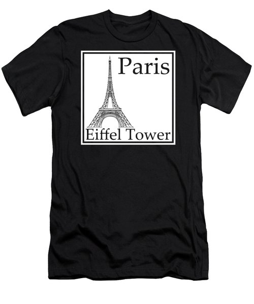 Eiffel Tower In White Men's T-Shirt (Slim Fit) by Custom Home Fashions