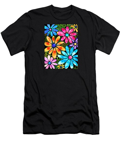 Floral Art - Big Flower Love - Sharon Cummings Men's T-Shirt (Slim Fit) by Sharon Cummings