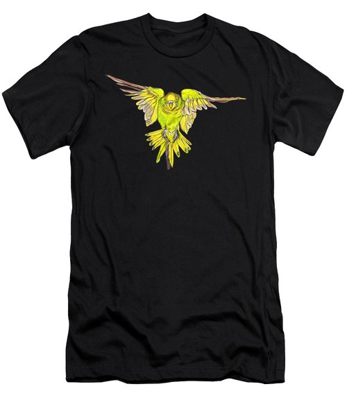 Flying Budgie Men's T-Shirt (Slim Fit) by Lorraine Kelly