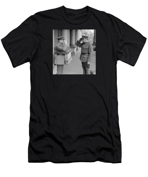 General John Pershing Saluting Babe Ruth Men's T-Shirt (Slim Fit) by War Is Hell Store