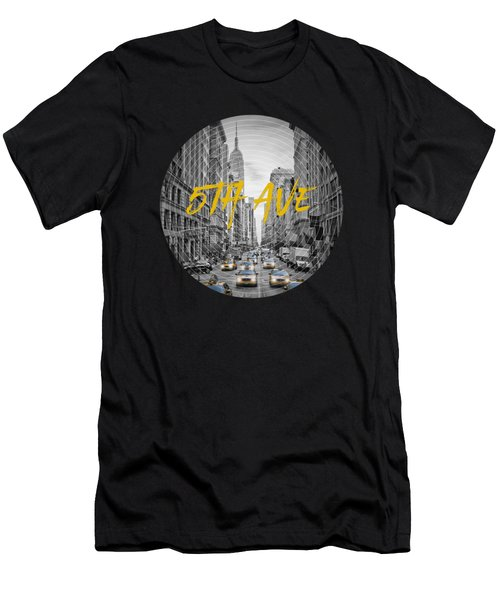 Graphic Art Nyc 5th Avenue Yellow Cabs Men's T-Shirt (Slim Fit) by Melanie Viola