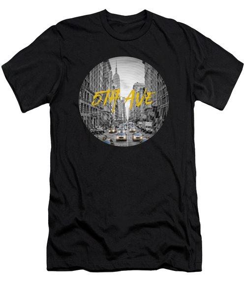 Graphic Art Nyc 5th Avenue Yellow Cabs Men's T-Shirt (Slim Fit) by Melanie Viola