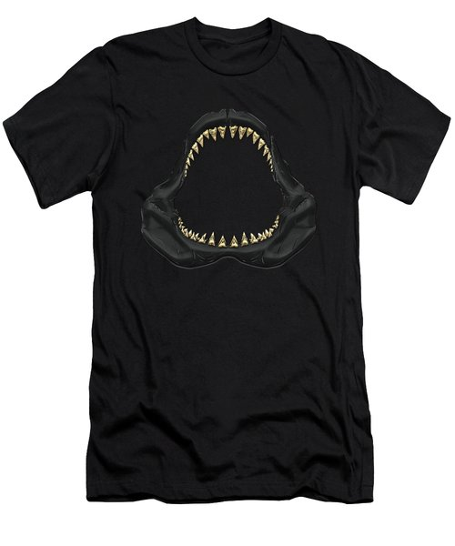 Great White Shark - Black Jaws With Gold Teeth On Black Canvas Men's T-Shirt (Slim Fit) by Serge Averbukh