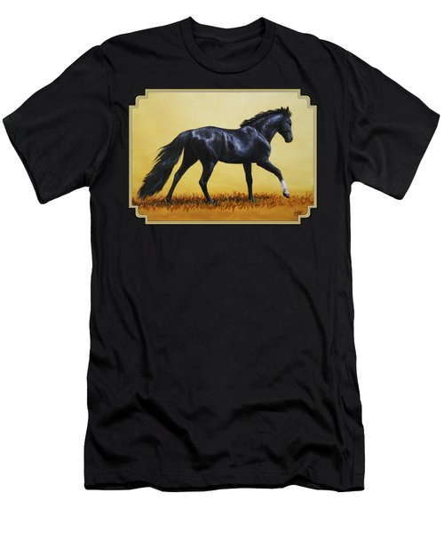 Horse Painting - Black Beauty Men's T-Shirt (Slim Fit) by Crista Forest