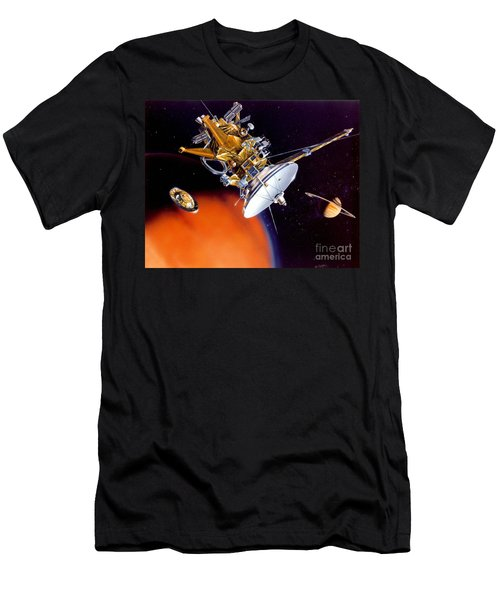 Huygens Probe Separating Men's T-Shirt (Slim Fit) by NASA and Photo Researchers