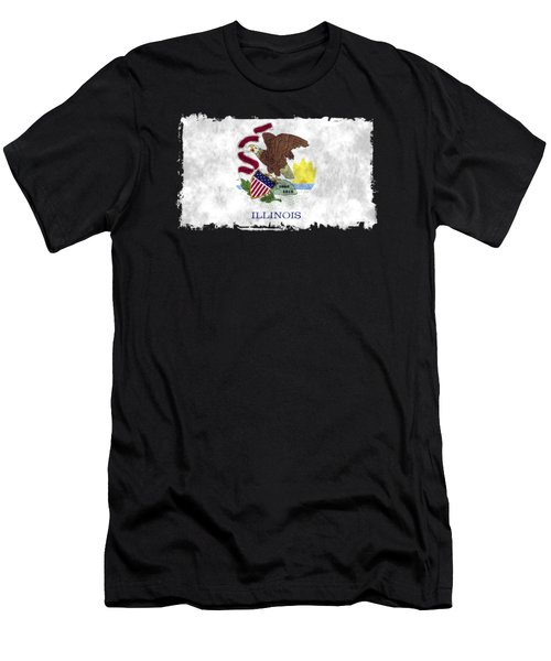 Illinois Flag Men's T-Shirt (Slim Fit) by World Art Prints And Designs