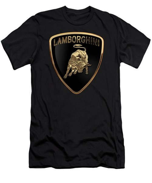 Lamborghini - 3d Badge On Black Men's T-Shirt (Slim Fit) by Serge Averbukh