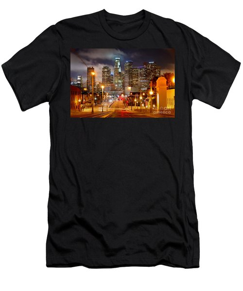 Los Angeles Skyline Night From The East Men's T-Shirt (Slim Fit) by Jon Holiday