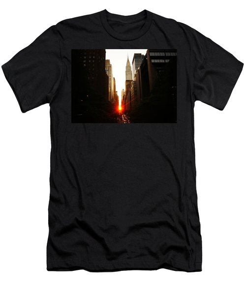 Manhattanhenge Sunset Over The Heart Of New York City Men's T-Shirt (Slim Fit) by Vivienne Gucwa