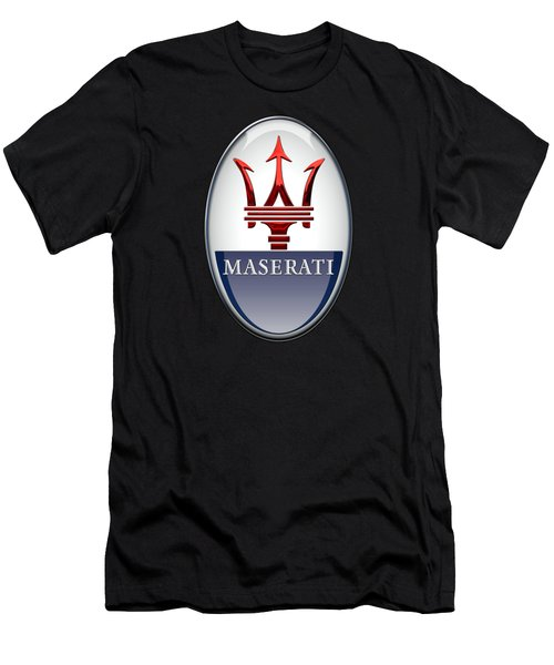 Maserati - 3d Badge On Black Men's T-Shirt (Slim Fit) by Serge Averbukh