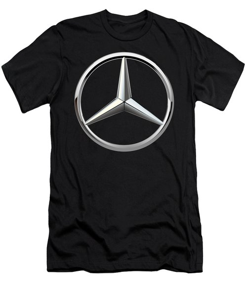 Mercedes-benz - 3d Badge On Black Men's T-Shirt (Slim Fit) by Serge Averbukh