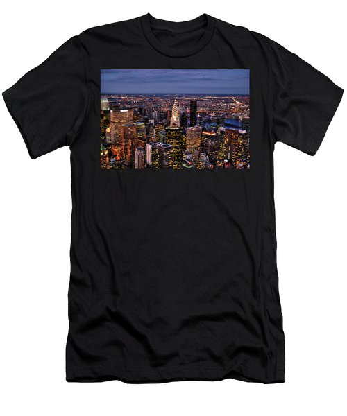 Midtown Skyline At Dusk Men's T-Shirt (Slim Fit) by Randy Aveille