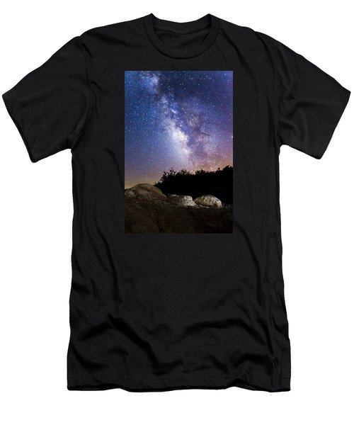 Milky Way Over A Western Diamondback Rattlesnake Men's T-Shirt (Slim Fit) by Chuck Brown