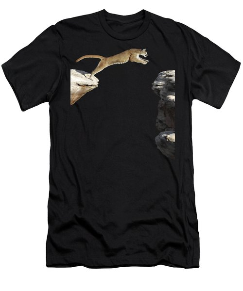 Mountain Lion Leaping Men's T-Shirt (Slim Fit) by Wildlife Fine Art