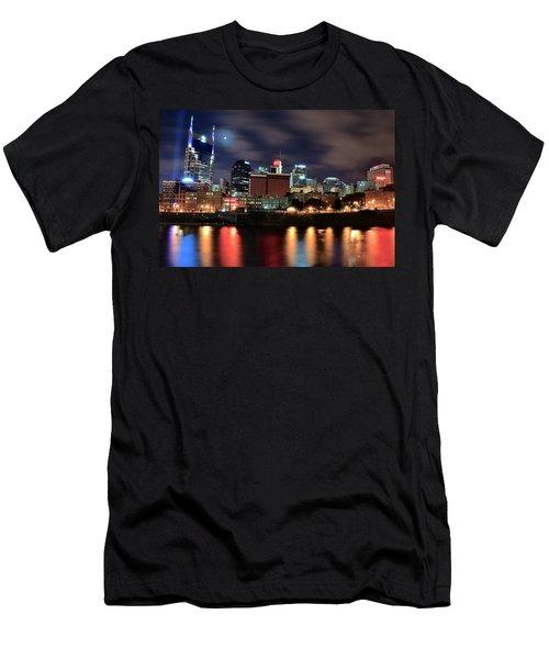 Nashville Skyline Men's T-Shirt (Slim Fit) by Frozen in Time Fine Art Photography