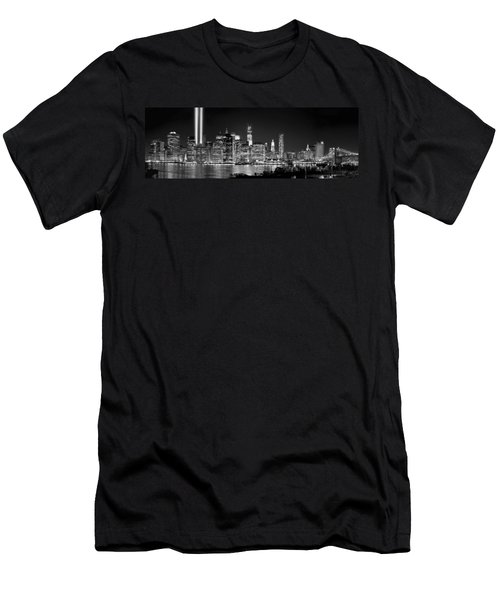 New York City Bw Tribute In Lights And Lower Manhattan At Night Black And White Nyc Men's T-Shirt (Slim Fit) by Jon Holiday