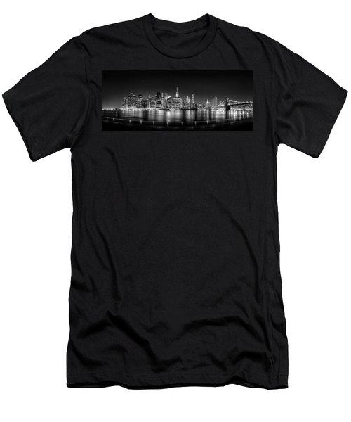 New York City Skyline Panorama At Night Bw Men's T-Shirt (Slim Fit) by Az Jackson