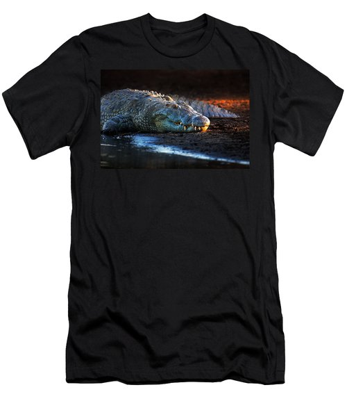 Nile Crocodile On Riverbank-1 Men's T-Shirt (Slim Fit) by Johan Swanepoel