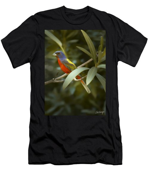 Painted Bunting Male Men's T-Shirt (Slim Fit) by Phill Doherty