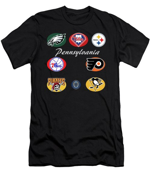 Pennsylvania Professional Sport Teams Collage  Men's T-Shirt (Slim Fit) by Movie Poster Prints