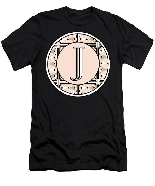 Pink Champagne Deco Monogram  J Men's T-Shirt (Slim Fit) by Cecely Bloom