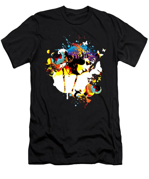 Poetic Peacock - Bespattered Men's T-Shirt (Slim Fit) by Chris Andruskiewicz