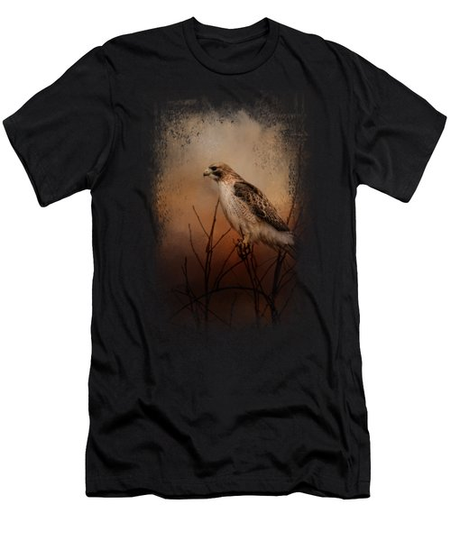 Red Tail In Wait Men's T-Shirt (Slim Fit) by Jai Johnson