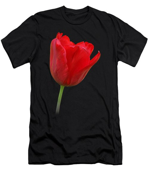 Red Tulip Open Men's T-Shirt (Slim Fit) by Gill Billington