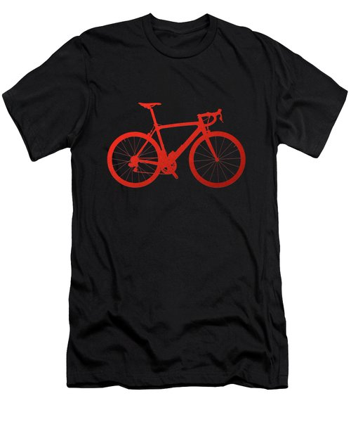 Road Bike Silhouette - Red On Black Canvas Men's T-Shirt (Slim Fit) by Serge Averbukh