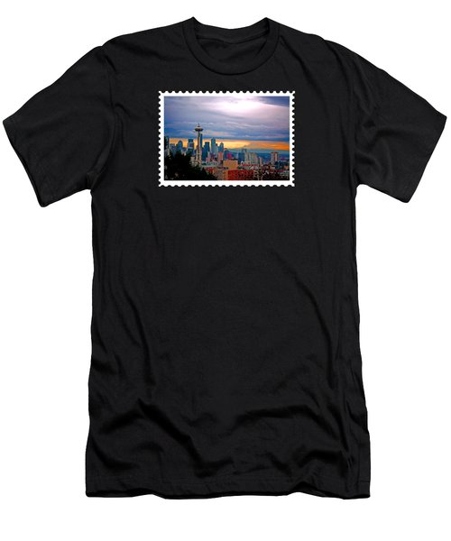 Seattle At Sunset Men's T-Shirt (Slim Fit) by Elaine Plesser