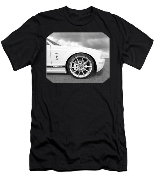 Shelby Gt500 Wheel Black And White Men's T-Shirt (Slim Fit) by Gill Billington