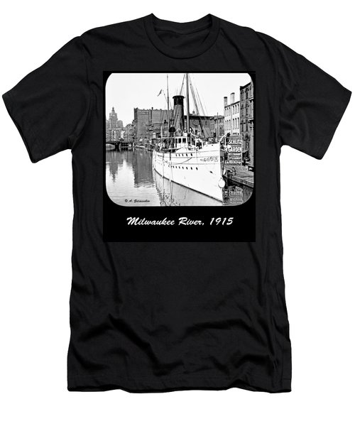 Men's T-Shirt (Slim Fit) featuring the photograph Ship In Milwaukee River C 1915 by A Gurmankin