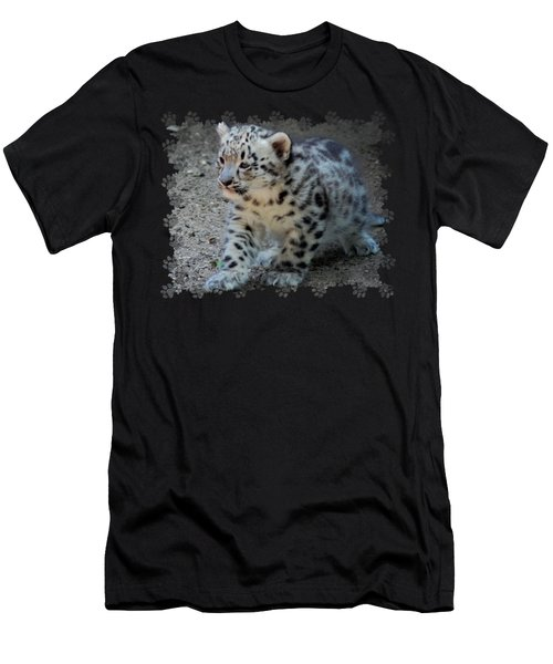 Snow Leopard Cub Paws Border Men's T-Shirt (Slim Fit) by Terry DeLuco