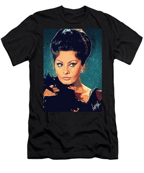 Sophia Loren Men's T-Shirt (Slim Fit) by Taylan Apukovska