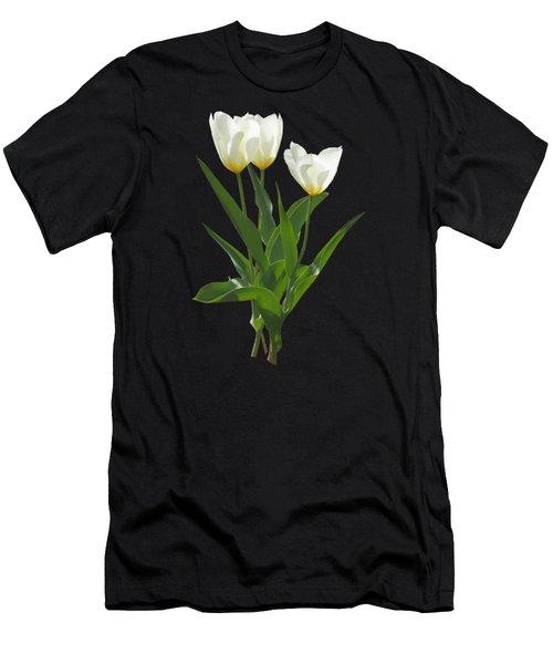 Spring - Backlit White Tulips Men's T-Shirt (Slim Fit) by Susan Savad