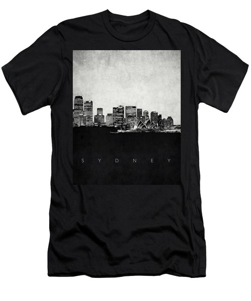 Sydney City Skyline With Opera House Men's T-Shirt (Slim Fit) by World Art Prints And Designs