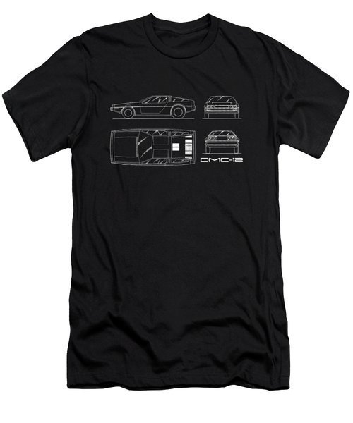 The Delorean Dmc-12 Blueprint Men's T-Shirt (Slim Fit) by Mark Rogan