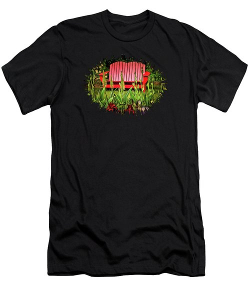 The Red Garden Bench Men's T-Shirt (Slim Fit) by Thom Zehrfeld