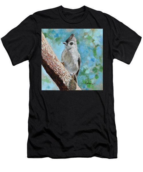 Tufted Titmouse #1 Men's T-Shirt (Slim Fit) by Amber Foote