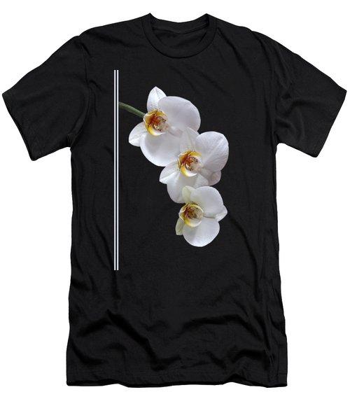 White Orchids On Black Vertical Men's T-Shirt (Slim Fit) by Gill Billington
