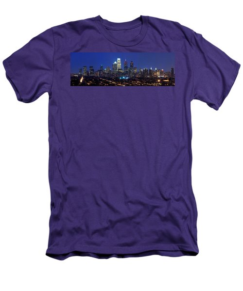Buildings Lit Up At Night In A City Men's T-Shirt (Slim Fit) by Panoramic Images