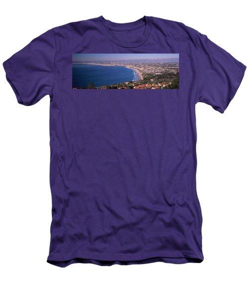 Aerial View Of A City At Coast, Santa Men's T-Shirt (Slim Fit) by Panoramic Images