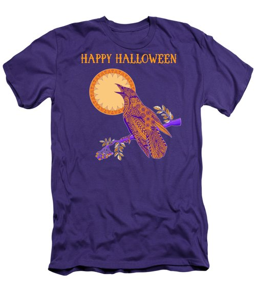 Halloween Crow And Moon Men's T-Shirt (Slim Fit) by Tammy Wetzel