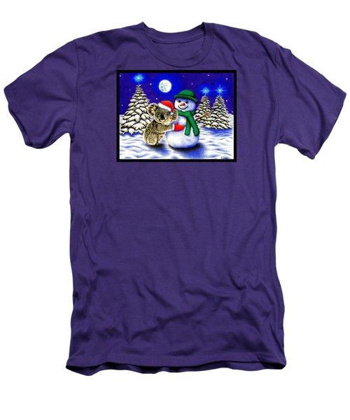 Koala With Snowman Men's T-Shirt (Slim Fit) by Remrov