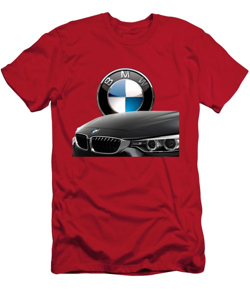 Black B M W - Front Grill Ornament And 3 D Badge On Red Men's T-Shirt (Slim Fit) by Serge Averbukh
